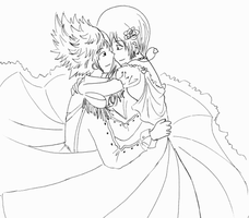 Roxas x Namine - uncolored- by Hiromi-Tenshi