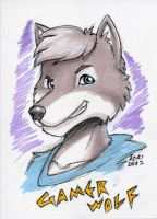 Gamer Wolf Art Card by AokiBengal