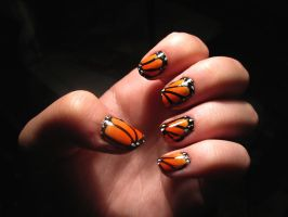 Butterfly nails by WaterLily-Gems