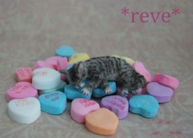 Miniature Sculpture Tabby Cat Sleeping by ReveMiniatures