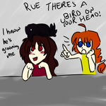 There's a Bird on Rue's Head! by SealedDarkness