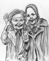 Jessica Lange and Drew Barrymore in Grey Gardens by Caricature80
