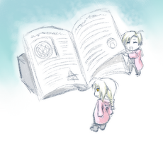 Sketch Request :: Alfonse and Edward and a book by akatsukishuriken