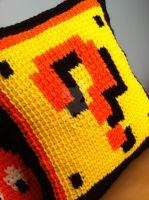 Question Block and Coins Pillow - Tunisian Crochet by MalonB