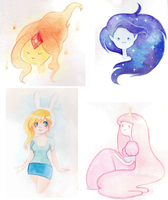 Adventure Time's watercolors by TrefleIX