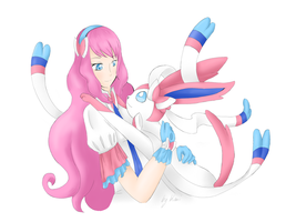 Pokemon Trainer and her Sylveon by Kimi3999