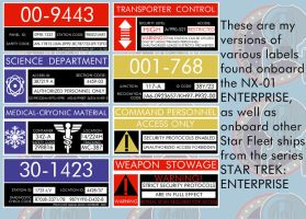 Various ENTERPRISE Labels by Carthoris