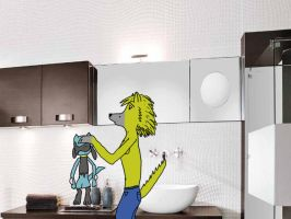 Dodger an Pahy in the bathroom by RMPSI