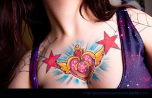 Sailor Moon Tattoo Moon Crisis Locket Chest Tattoo by LilithScream