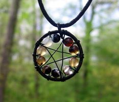 Black Agate Pentagram Necklace by MoonLitCreations