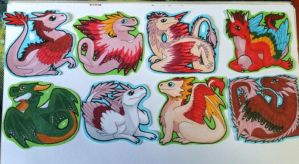 Dragon Stickers by Aireane01