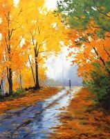 Fall Leaves painting by artsaus
