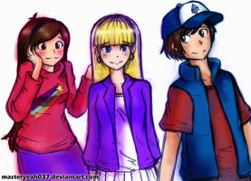 Mystery Kids (Dipper, Mabel , Pacifica) by Masteryeah037