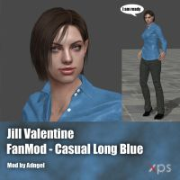 Jill Valentine FanMod Casual Long Blue by Adngel