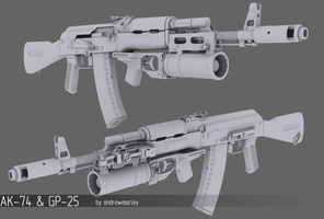 AK-74 and GP-25 by andrewmarley