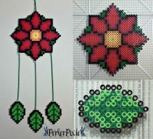 Poinsettia DreamCatcher by PerlerPixie