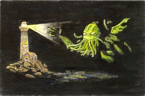 Cthulhu and the Lighthouse by Midnight-Vanburen