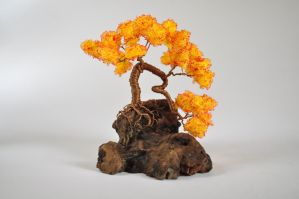 Orange Wire Bonsai Tree by NoriAnum