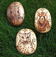 Snow Leopard, Elephant and Red Panda Pebbles by BumbleBeeFairy