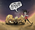 Don't Starve: Got wolf - take beefalo by MadCookiefighter