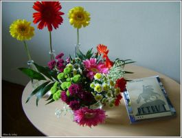 Flowers and books by Iuliaq