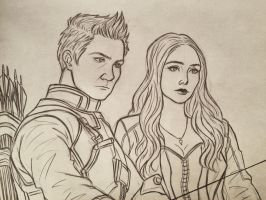 Hawkeye and Scarlet Witch by 7Lisa