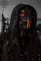 Erebus - Cyberpunk dystopian light up helmet by TwoHornsUnited