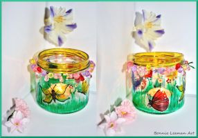 Spring Butterfly Candle Holder by Bonniemarie