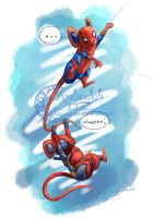 Deadpool Mouse and SpiderMouse by AlmightyHighElf