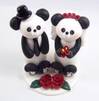 Panda Bears Cake Topper by HeartshapedCreations