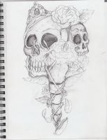 Skull and roses sketch by spratsanime