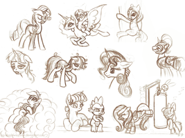 Random Pony Sketches 2 by KP-ShadowSquirrel