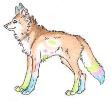 Colorful Wolf Auction OwO by Crazywolfs