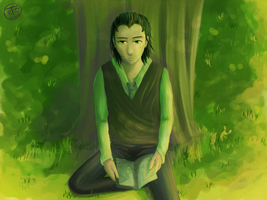 :Loki: Reading Under a Tree by Weaslegirl96