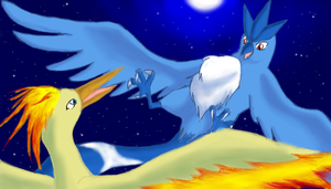 Cuno and Moltres-Night Flight by lvdragon