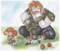 FFXI - Eating with a friend by yunni