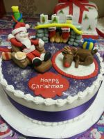 Santa and Rudolphs Christmas cake by starry-design-studio