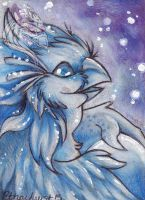 Astral Gryphon Fledgling Original ACEO by Idlewings