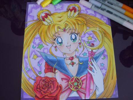 sailor moon with copic ciao marker by rubylucky