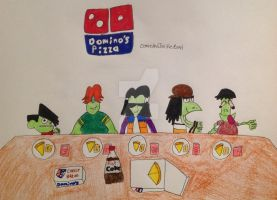 Gangreen Gang enjoying Domino's by DarkRoseDiamond123