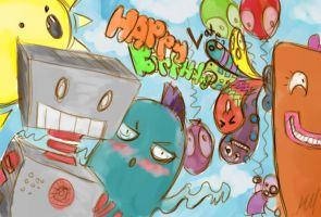 Late birthday robot card by CrypticInk