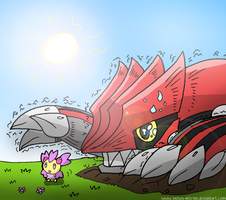 Groudon and Cherrim by snowy-inferno