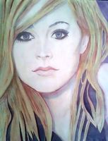 Avril Lavigne in watercolor by doodlingsketch