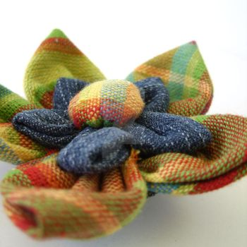 Plaid fabric flower brooch pin by MadelinesWardrobe