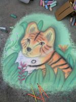 Tiger creature chalk art by CrystalCircle