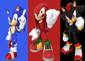 Sonic,Knuckles and shadow by princesszelda224