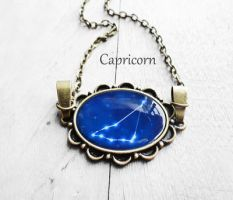 Handmade Resin Capricorn Bronze Oval Necklace by crystaland
