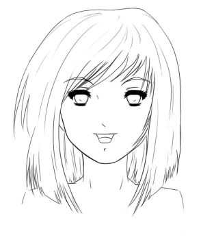 Manga Girl - Lineart by Yuukie