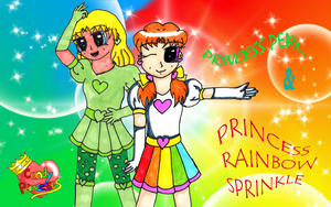 Pear and Rainbow Sprinkle wallpaper by Llama-lady