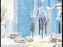 Manhattan Christmas 1979 Painting by FastLaneIllustration